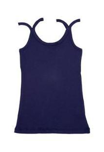 Regata Via Costeira Em Algodão Com Alças Duplas Feminina - Feminino-Azul Escuro