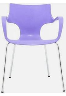 Cadeira Jim Base Fixa Cromada Cor Lilas