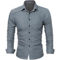30ee4ad65e Camisa Social Masculina Slim Fit Com Detalhe Estampado Manga Longa - Cinza