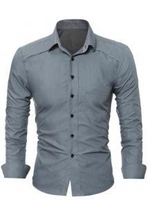 Camisa Social Masculina Slim Fit Com Detalhe Estampado Manga Longa - Cinza