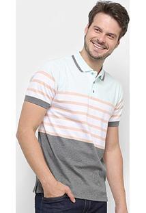 Camisa Polo Gajang Euro Lyon Masculina - Masculino-Branco+Cinza