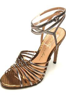 Sandália Luiza Barcelos Metalizada Bronze/Dourado