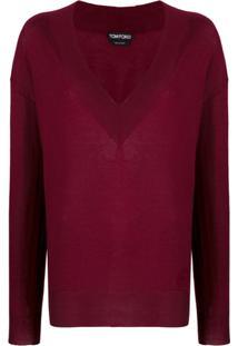 Tom Ford V-Neck Knitted Sweater - Vermelho