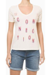 Blusa Feminina Slim Estampa Connection Nude Calvin Klein Jeans - Pp