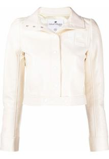 Courrèges High-Shine Cropped Jacket - Neutro