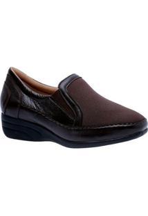Sapato Conforto Doctor Shoes Anabela Em Couro Feminino - Feminino-Café
