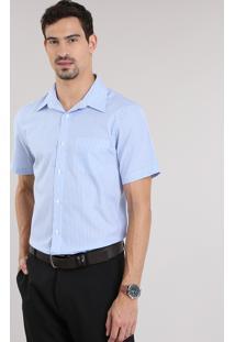Camisa Comfort Listrada Azul Claro