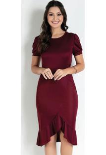 Vestido Com Babados Bordô Moda Evangélica