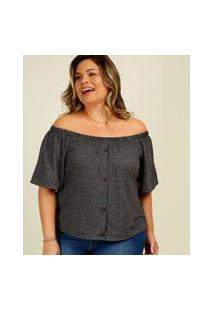 Blusa Plus Size Feminina Ciganinha Botões Marisa
