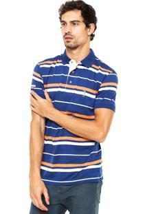 Camisa Polo Aleatory Listrada Azul/Laranja