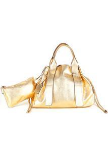 Bolsa Couro Shoestock Tote Desestruturada Feminina - Feminino-Dourado
