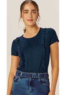 Blusa Azul Marinho Botonê Com Babado