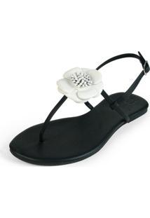 Rasteira Mercedita Shoes Napa Preto Com Flor Em Couro Branco