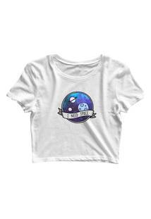 Blusa Blusinha Feminina Cropped Tshirt Camiseta I Need Space Branco