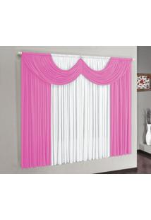 Cortina Riviera 3,00M X 2,80M Malha Gel Para Varão Simples Pink/Branco Borda Bordados Enxovais