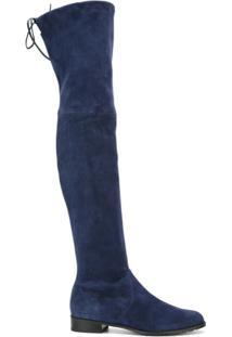 Stuart Weitzman Bota Over The Knee De Camurça - Azul