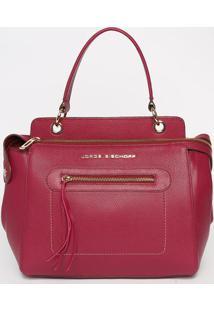 Bolsa Em Couro Com Recortes - Rosa Escuro- 26X32X15Cjorge Bischoff