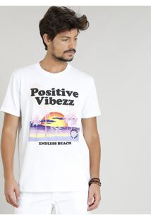 "Camiseta Masculina ""Positive Vibezz"" Manga Curta Gola Careca Branca"