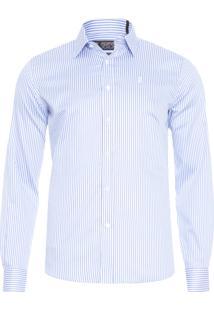 Camisa Masculina Premium Long Stripe - Azul