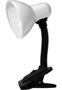 Luminária De Mesa Taschibra Tlm05 E27 Articulável Garra Branca/Preta