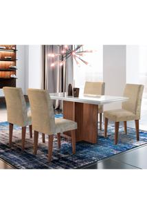 Conjunto De Mesa De Jantar Berlim Ii Com Tampo De Vidro Off White E 4 Cadeiras Grécia Suede Amassado Chocolate