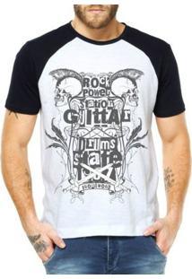 Camiseta Raglan Criativa Urbana Rock Power Caveiras - Masculino-Branco