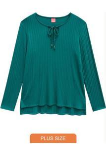 Blusa Verde Turquesa Canelada Com Abertura