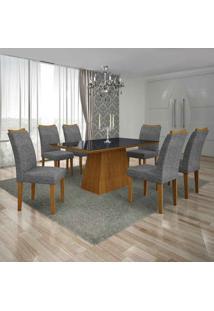 Conjunto De Mesa Com 6 Cadeiras Pampulha Ii Linho Imbuia Mel E Cinza