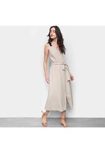 Vestido Cantão Midi Linho Com Amarração - Feminino-Bege