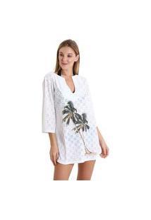 Vestido Gola V Laise Coqueiro Noturno - Branco - Líquido
