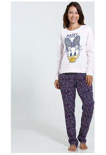 Pijama Feminino Estampa Margarida Glitter Disney