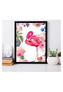 Quadro Decorativo Com Moldura Flamingo Flowers Preto - 30X40Cm