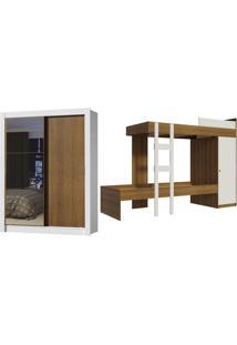 Kit Madesa Guarda-Roupa Infantil Denver Com 2 Portas De Correr Com Espelho + Beliche Larissa