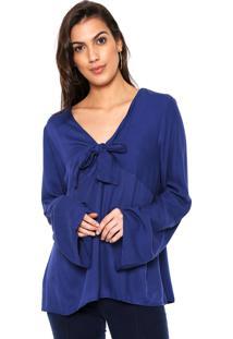 Blusa Malwee Laço Azul