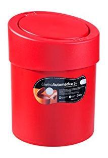 Lixeira Automática 5 L Plástica Vermelha - 10908/0053 - Coza