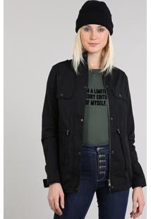 Jaqueta De Sarja Feminina Gola Alta Com Botões Preta