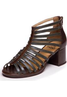 Sandalia Gladiadora Verde Folha / Chocolate - Grace Kelly 5861 - Verde - Feminino - Dafiti