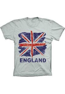 Camiseta Lu Geek Manga Curta England Flag Prata