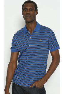 Polo Regular Fit Listrada- Azul & Preta- Lacostelacoste