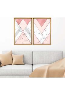 Quadro Com Moldura Chanfrada Triângulo Com Mármore Madeira Clara - Médio