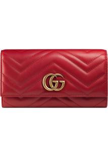 Gucci Carteira Continental Gg Marmont - Vermelho