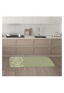 Tapete De Cozinha Mdecore Floral Verde 40X120Cm