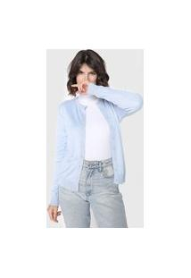 Cardigan Tricot Facinelli By Mooncity Liso Azul
