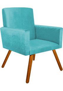 Poltrona Decorativa Nina Suede Azul Tiffany Com Encosto Alto - D'Rossi