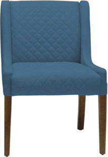 Poltrona Decorativa Antônia Tressê Veludo Azul - Gran Belo