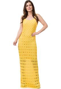 Vestido amarelo longo feminino gostei e agora dafiti vestido pink tricot longo decote nas costas amarelo thecheapjerseys Choice Image
