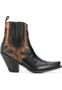 Paul Warmer Ankle Boot Com Aplicação De Tachas - Preto