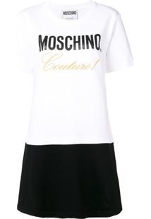 Moschino Logo Print T-Shirt Dress - Branco