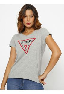 "Blusa ""Guessâ® Logo"" - Cinza & Vermelha - Guessguess"