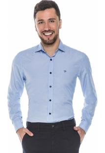 Camisa Hugo Rossi Maquinetada Azul Claro - Masculino